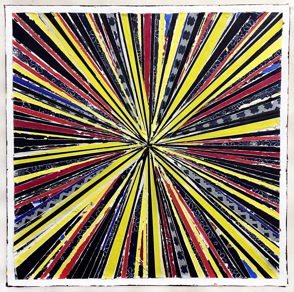 "STARGATE: 13, 2016, paint, fabric, quartz crystal, Reiki energy,  20"" x 20"""