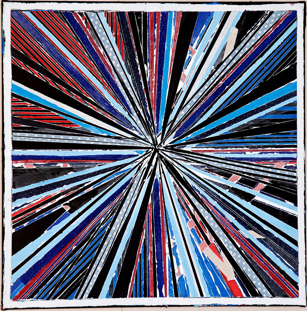 "STARGATE: SS 12 , 2016, paint, fabric, quartz crystal, Reiki energy,  20"" x 20"""