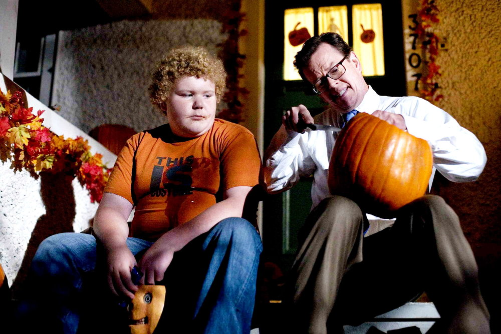 Steven (Dylan Baker) gives Charlie (Brett Kelly) a chilling lesson about disrespecting Halloween traditions.