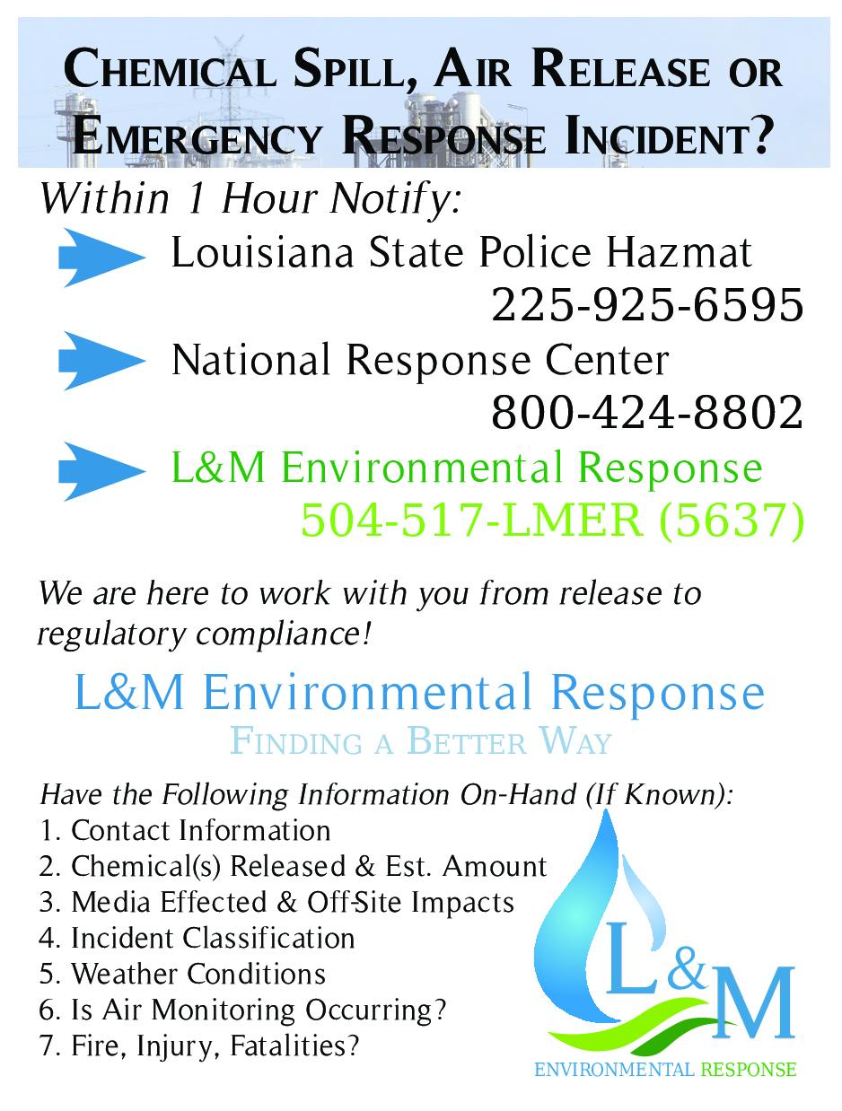 L&M Environmental Response, LLC |      504-534-8563     | 24/7