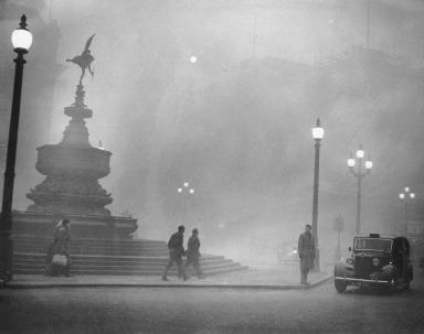 December 1952: London during the day during the Great Smog event (Soruce:  http://history1900s.about.com/od/1950s/qt/greatsmog.htm )