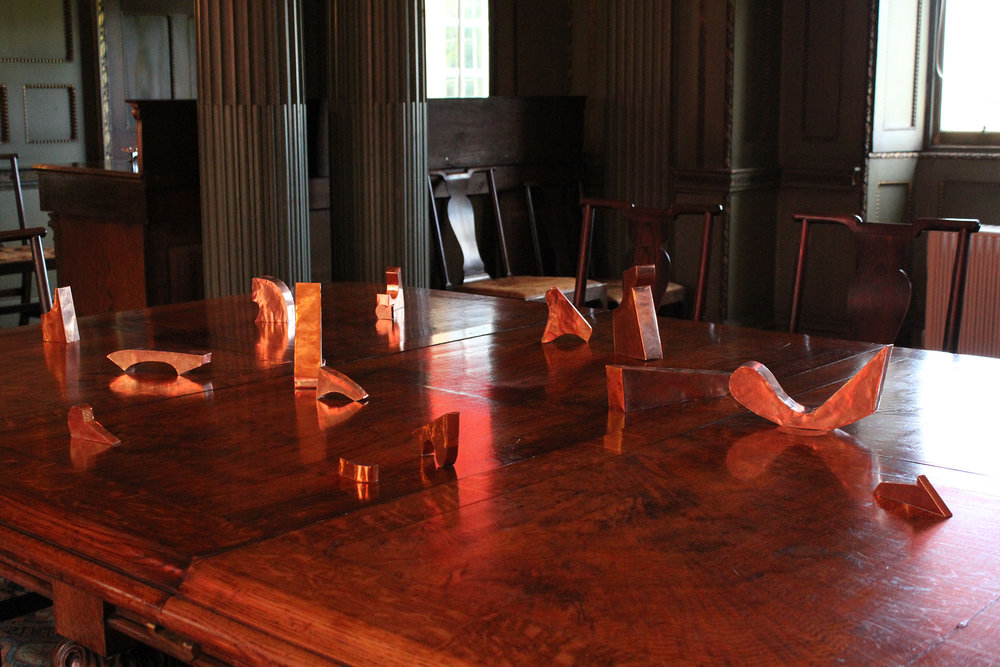 solo installation at Newhailes, Edinburgh (National Trust) 5 Aug – 6 Sep 2010 part of Edinburgh Art Festival press release  here   image:  conversation piece  copper on dining table, dimensions variable