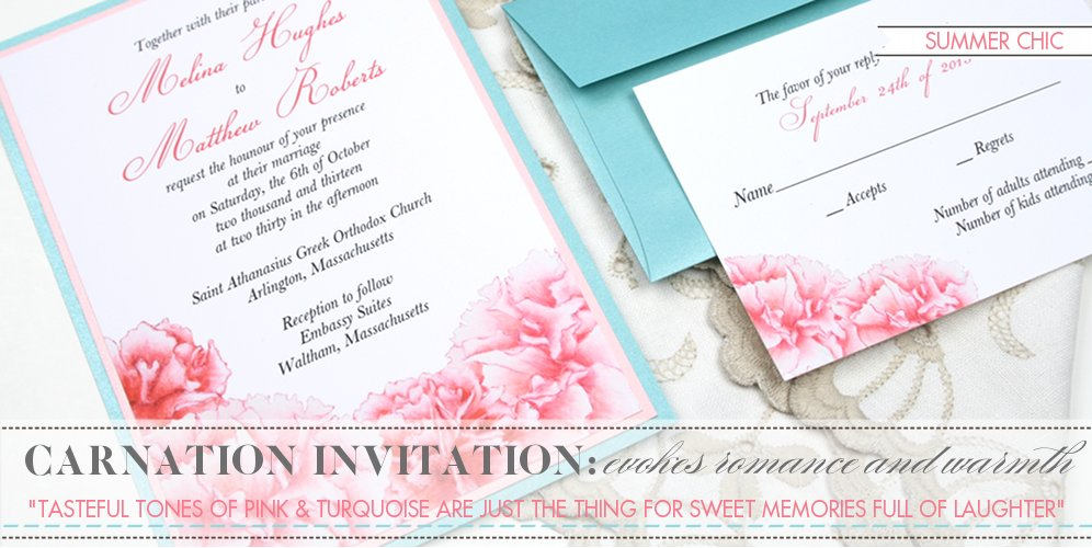 Carnation Wedding Invitation, Pink and Turquoise Wedding