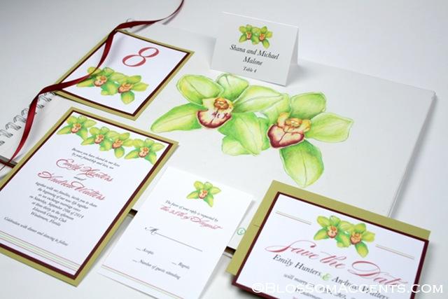 Green Orchid Wedding Invitation