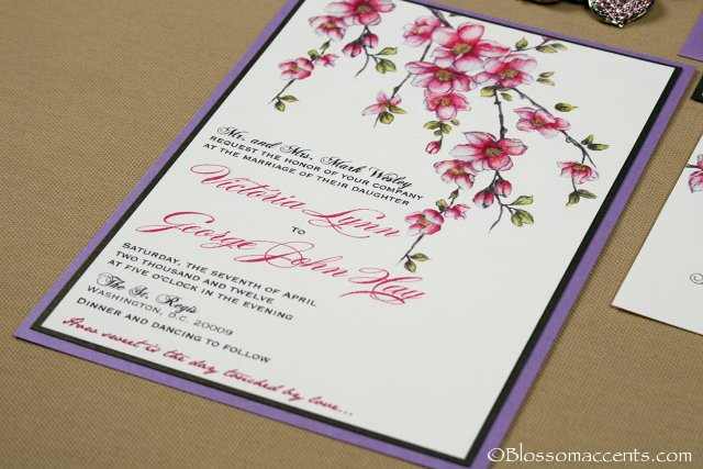 cherry blossom wedding invitation — blossom accents, Wedding invitations