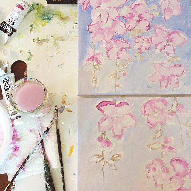 Beginnings are so raw... . . . #studiolife #chasinglight #smallbusiness #makersgonnamake #creativityfound #creative #artist #fineart #liveauthentic #livethelittlethings #pursuepretty #thatsdarling #momlife #pink