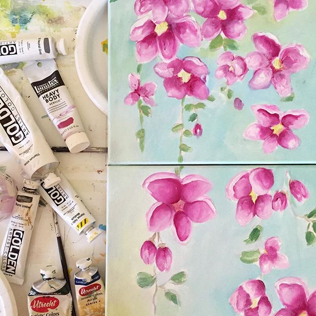 First layers are done. I wanted to paint a series matching the previous painting of cherry blossoms just for 'practice', to become comfortable with this style. . . . #homedecor #interiordesign #sodomino #makersmovement #passion #carveouttimeforart #creativityfound #creative #pursuepretty #thatsdarling #liveauthentic #livethelittlethings #dscolor #studiolife #artistofinstagram #makersgonnamake #doitfortheprocess #craftsposure #flashesofdelight