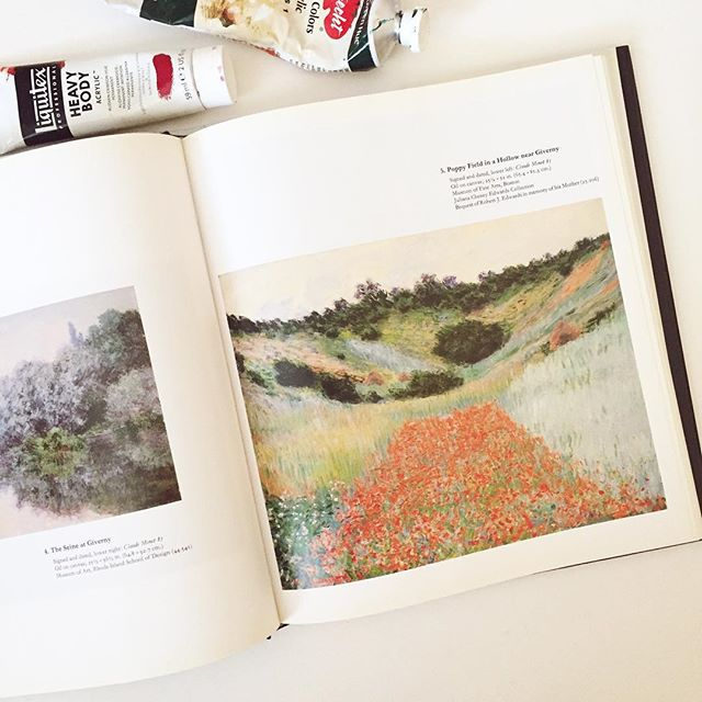 """""""I must have flowers, always, and always."""" -Claude Monet  I got this book as a gift from a friend in the year of 2000 @justynawalkerphotos thank you! I still cherish it 🌾🌾 . . . #doitfortheprocess #sodomino #floralpainting #poppypainting #poppy #fineart #artistofinstagram #artist #creativityfound #creative #carveouttimeforart #passion #painting #monet #pursuepretty #thatsdarling #makersgonnamake #makersmovement #liveauthentic #livethelittlethings #dscolor"""
