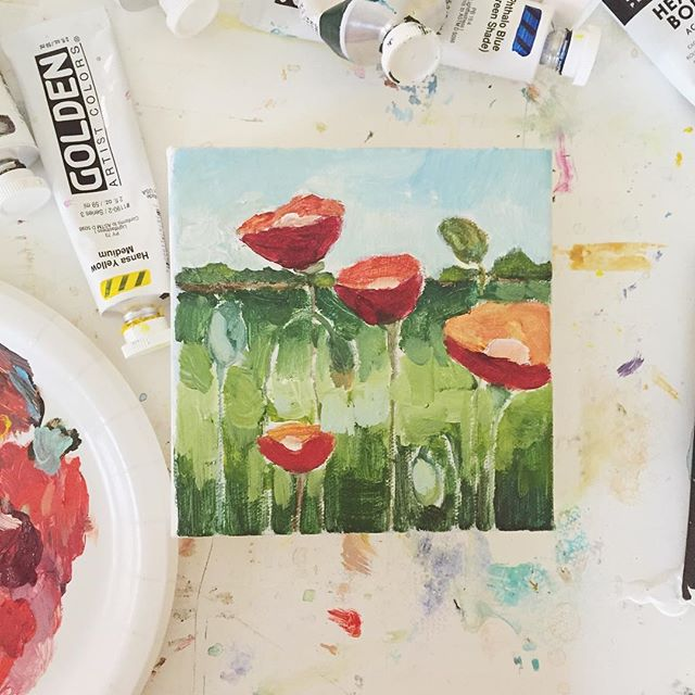 First layers are down... Working on a series of poppies! . . . .. . #chasinglight #momlife #smallbusiness #dscolor #livethelittlethings #liveauthentic #makersmovement #makersgonnamake #deeplyrooted #floralpainting #fineart #cleveland #ohioartist #pursuepretty #thatsdarling #doitfortheprocess #sodomino #mywestelm #interiordesign #homedecor