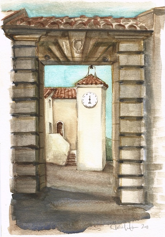 A lovely, creamy-plastered village in Tuscany, where I straddled a stone wall and achieve a good hearty numb bum from sitting long enough to draw the ancient archway.  It was a day off from the nearby farm where I was volunteering (WWOOF) for a couple of weeks in the late fall.