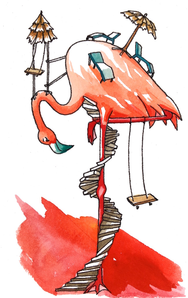 "Flamingo's Patio - ""At flamingo's there isn't actually any bedroom or bathroom…or shelter of any kind. I got so sunburned I look like a deep friend empanada."""