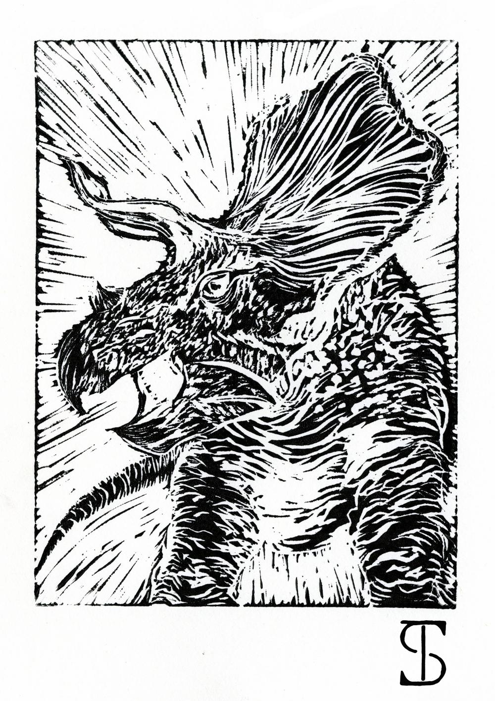 Torosaurus Linocut