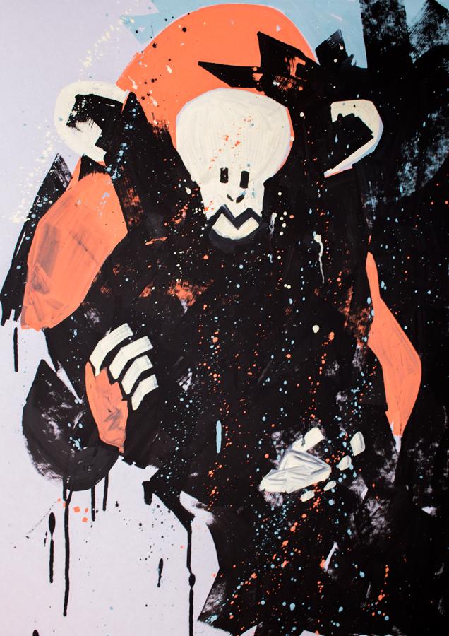 Cosmic 2 Format: 50x70 cm Akryl på bogbinderpap Pris: 3500 DKK SOLGT