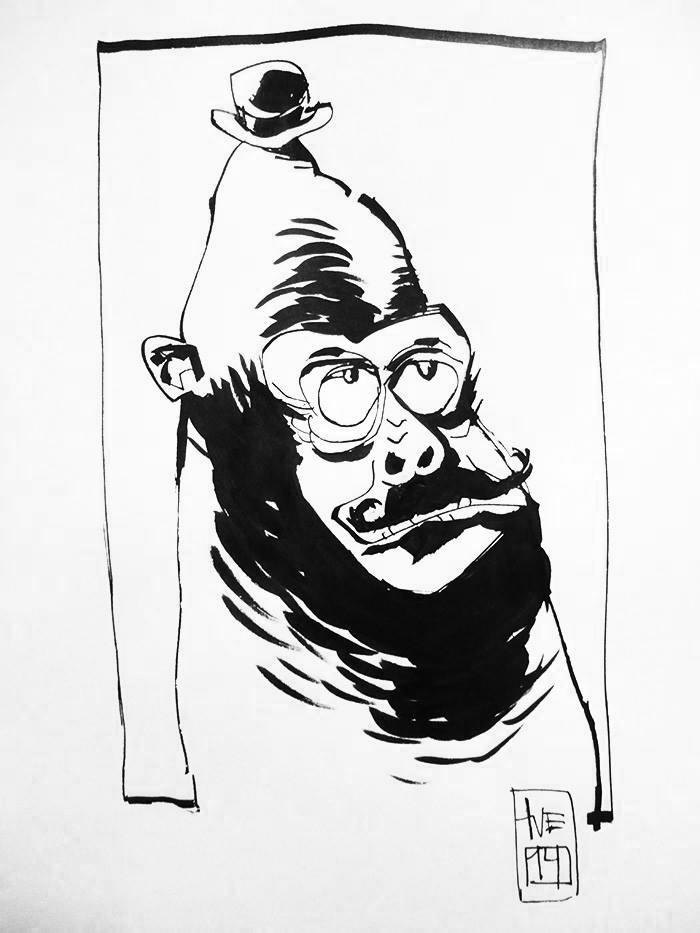 Sketchy gentleman Format: A4 i passepartout (21x29,7 cm) Tusch på papir Pris: 700 DK