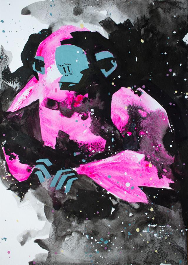 Yeti in the snow Format: A3 (29.7x42 cm) Tusch, akvarel og akryl på papir Pris: 1800 DKK