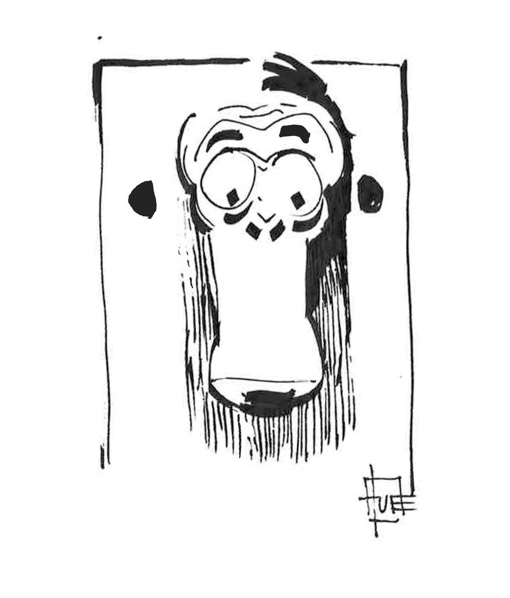 Monkey see Format: A4 i passepartout (21x29,7 cm) Tusch på papir Pris: 700 DKK