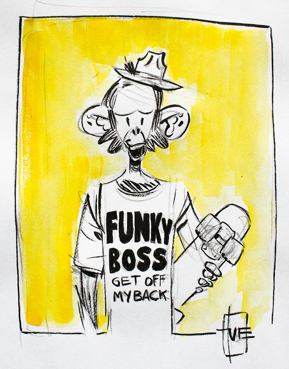 Funky Boss Format: A4 i passepartout (21x29,7 cm) Tusch og akvarel på papir Pris: 700 DKK SOLGT