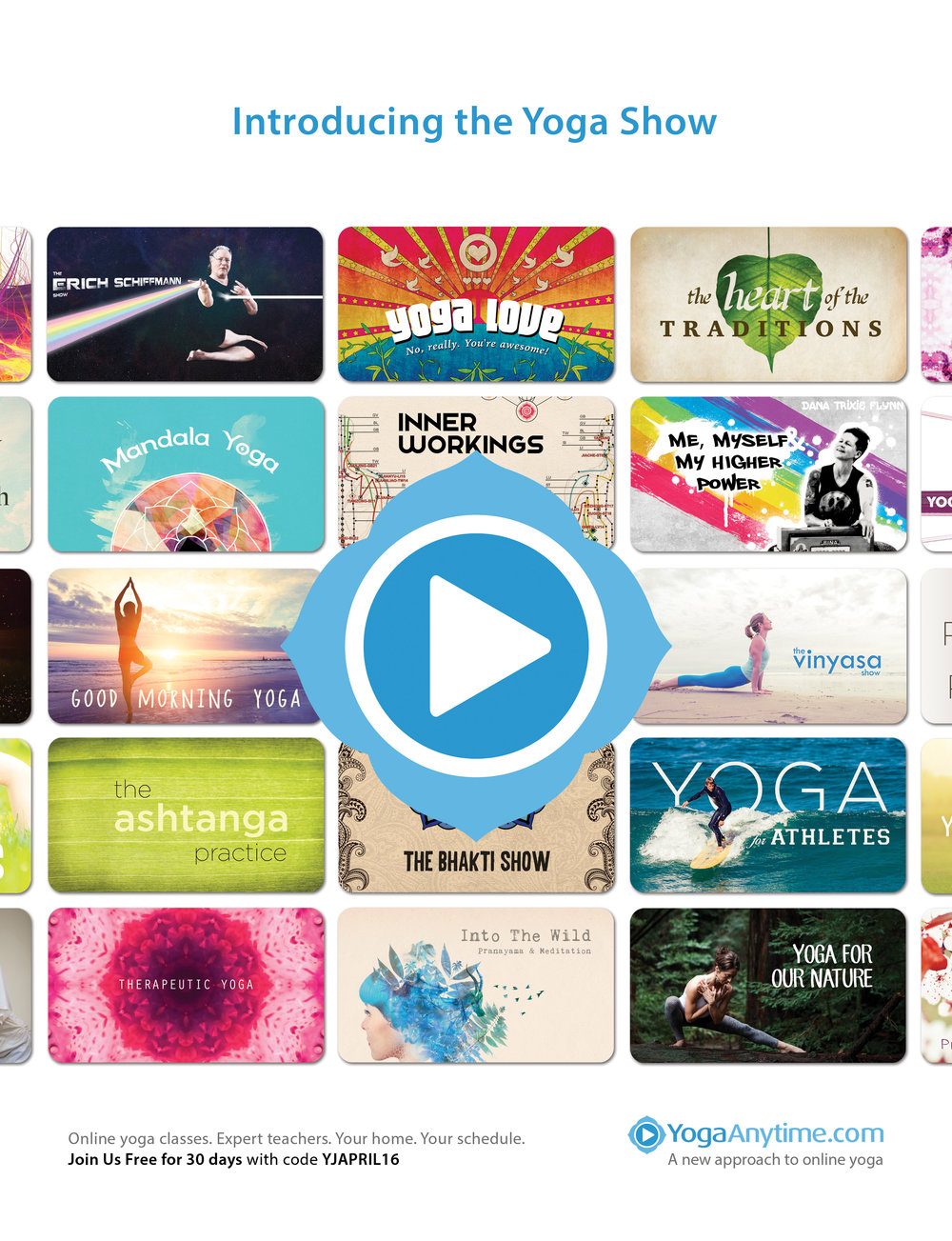"""Our top performing ad was introducing the """"show"""" concept for yoga classes. Published in Yoga Journal."""