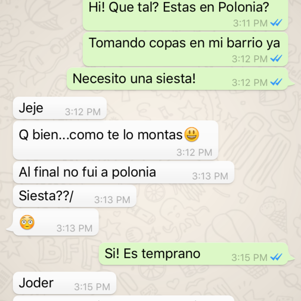 I'm in Germany, texting about Poland in Spanish. Not confusing at all!