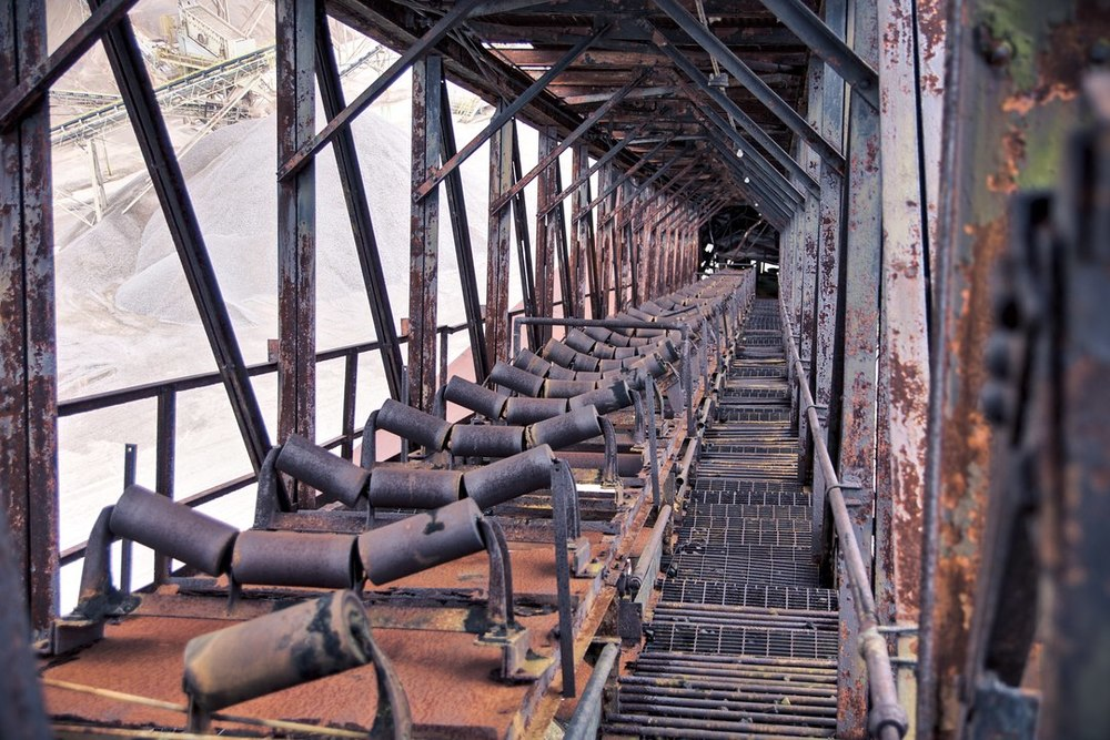 Coal conveyer belt which feeds into the coal hopper from the coal handling area.