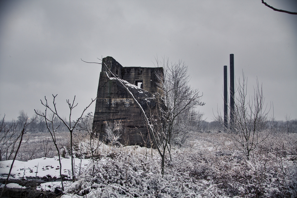 Remains of TCI Ensley in the snow.