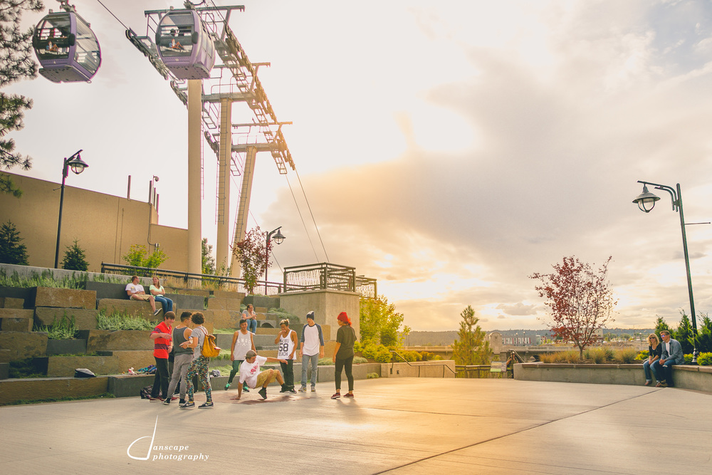 The Cut Out Crew at sunset in Spokane's newest park.