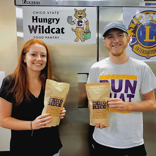 Chow down Wildcats! 🐱 We were thrilled to donate some freshly milled Chico Rice to the Chico State @hungrywildcats food pantry! #chicorice #chicostate #freshriceforall