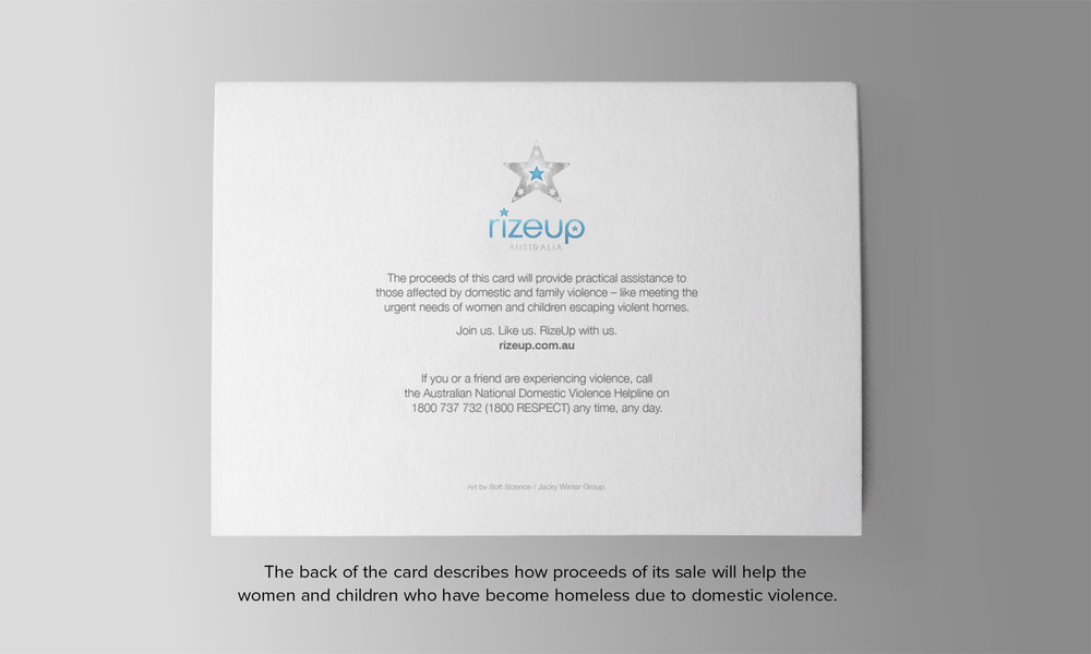 The back of the card describes how proceeds of its sale will help women and children who've become homeless due to domestic violence.