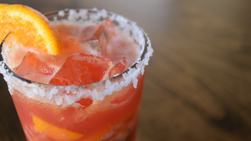 BLOOD ORANGE   MARGARITA  - Made with fresh pressed fruit & El Jimador Tequila. Our Featured Cocktail of the Month!