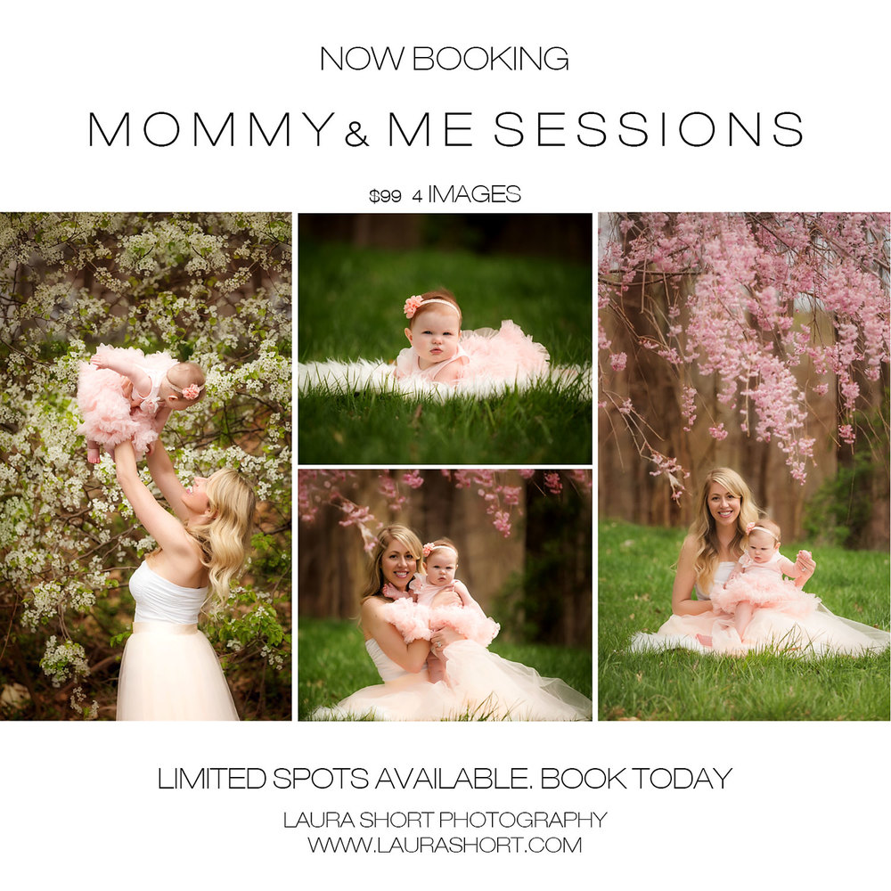 Mommy and me photography sessions under flower trees