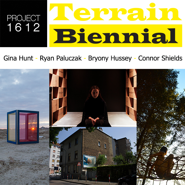 The Terrain Biennial is an international exhibition of site-specific art made for front yards, balconies, and porches. Centered in the historic village of Oak Park, IL, the 2017 Biennial will kick-off on Sunday, October 1st with a block party in Oak Park, IL and run until November 15th. Neighborhoods throughout Chicagoland will host performances, film screenings, and other events in conjunction with the festival. A map of all locations and the dates of the openings for each neighborhood will be posted to   www.terrainexhibitions.com   .    Founded in October of 2011 by artist Sabina Ott and author John Paulett, Terrain Exhibitions and The Terrain Biennial repurposes private spaces such as front yards, porches, or windows, turning them into public spaces in order to foster dialogue between neighbors and provide opportunities for artists and viewers alike to experience new perspectives. The projects at the 3rd Terrain Biennial will range from sculptural installations to time-based performances to public interventions.  This year, Project 1612 is participating in the 3rd Terrain Biennial and will be hosting a one-night event on Friday, October 6th from 5-9pm. This event will feature an installation in the front yard by Gina Hunt, which will remain installed for the duration of the biennial, a performance piece in the back yard by Connor Shields, a sound installation in the garage by Ryan Paluczak, and an installation on the sun porch by Bryony Hussey. All of the artists for this event have been curated by the co-founders of Project 1612.