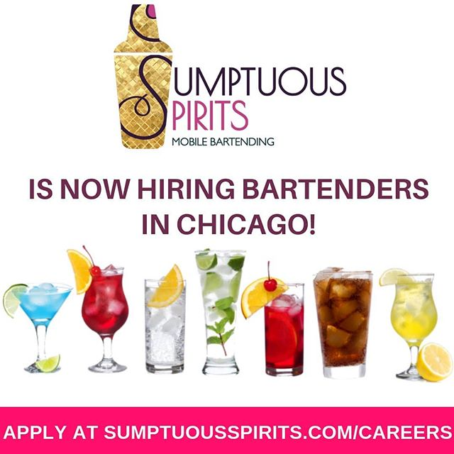 We're expanding our team in Chicago! Visit SumptuousSpirits.com/careers to apply now. • • • #chitown #chicago #chicagoland #chicagojobs #chicagobartender #chicagolife #chicagoevents #chicagobar #chicagobarscene #chicagococktails #mixology #mixologist #cocktails #liquor #bartending #bartendingschool #bartendinglife #chicagobars #visitchicago #weddingbartenders #bartendingservice #mobilebartender #mobilebartending #mobilebartendingservice #nowhiring #werehiring #hiring #jobsearch #jobhunt #hospitalityjobs
