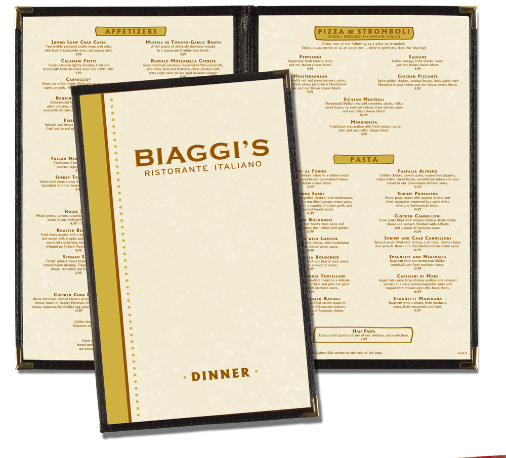 Biaggi's Before Menu Design