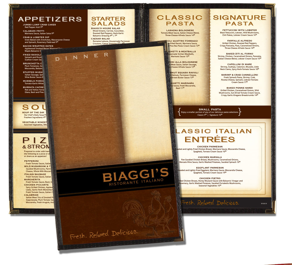Biaggi's After Menu Design