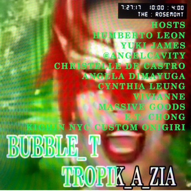 Thursday 7/27:  Asian/Pacific/Queer  collective @bubble____t  throws their final dance party of the summer at  @therosemontnyc We'll be heading over from @kinfolk90 to craft some rice-y party favors (don't forget to chew!) Expect: inclusivity, Spam®, and one-off boba cocktails.  Also Angela Dimayuga (!!) of Mission Chinese is one of the hosts?! Paradise is very nice!  This ones running late and loose, see you all there!