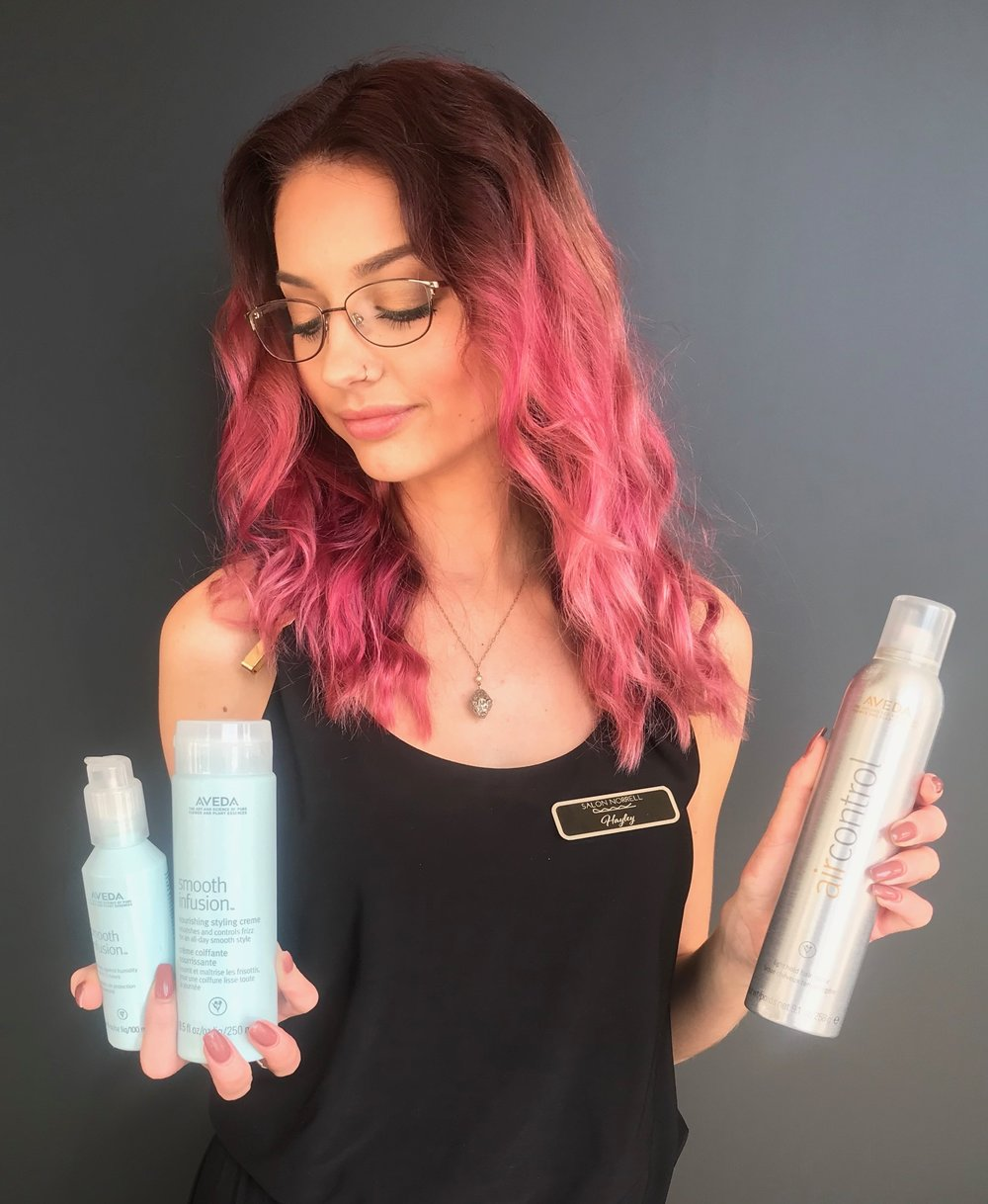 Combat frizz to the fullest… - by using a style prep, styling agent, and a finishing spray. Scroll down and read more about Aveda Brand Ambassador, Hayley's must haves!