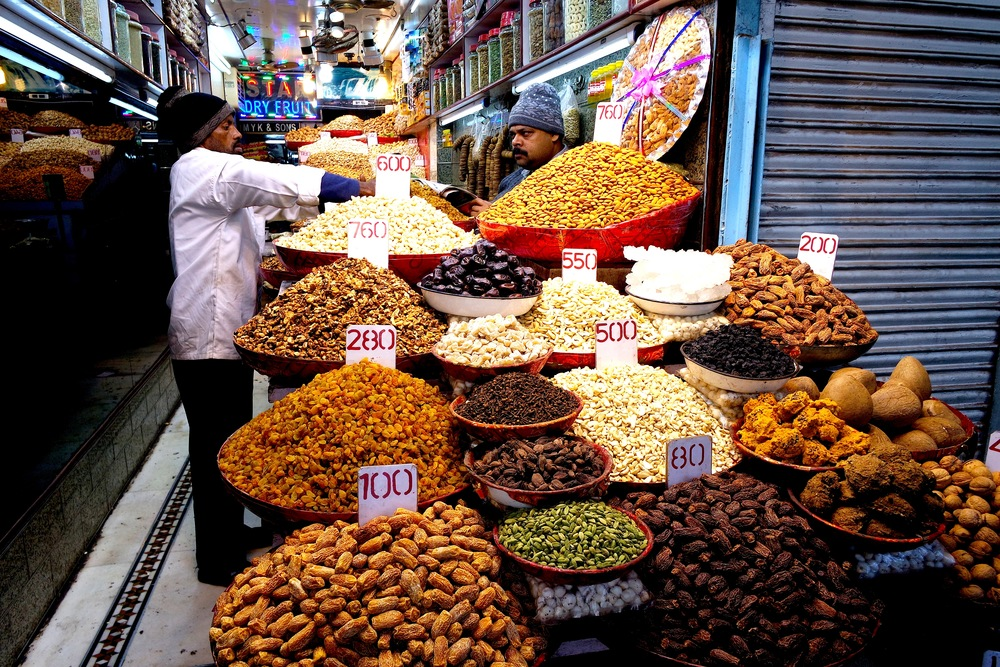The Khari Baoli Spice Market also has plenty of nuts and dried fruits