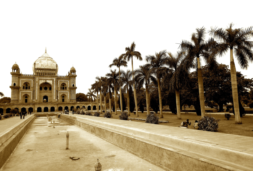 The empty pool at Safdarjung's Tomb in Delhi, India reveals its neglected state