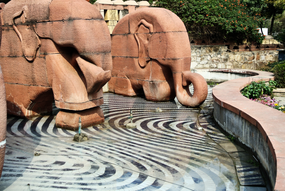 These elephants greet you upon entering the Garden of Five Senses in Delhi