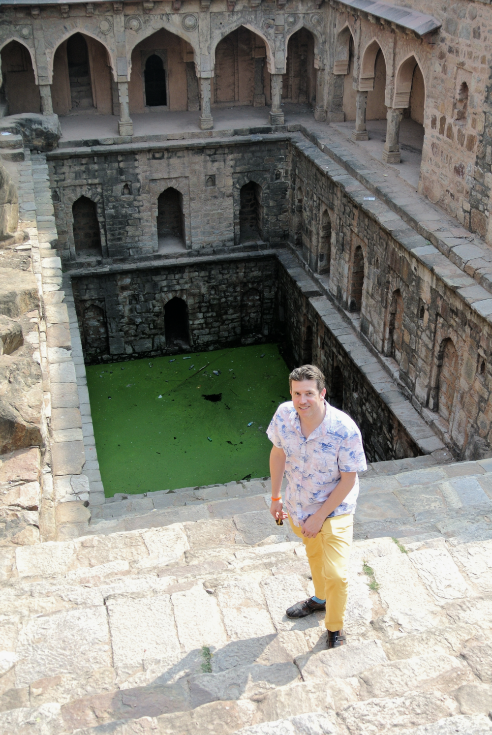 Wally overcame his fear of heights to shimmy along narrow ledges at the Rajon Ki Baoli stepwell in Mehrauli Archeological Park