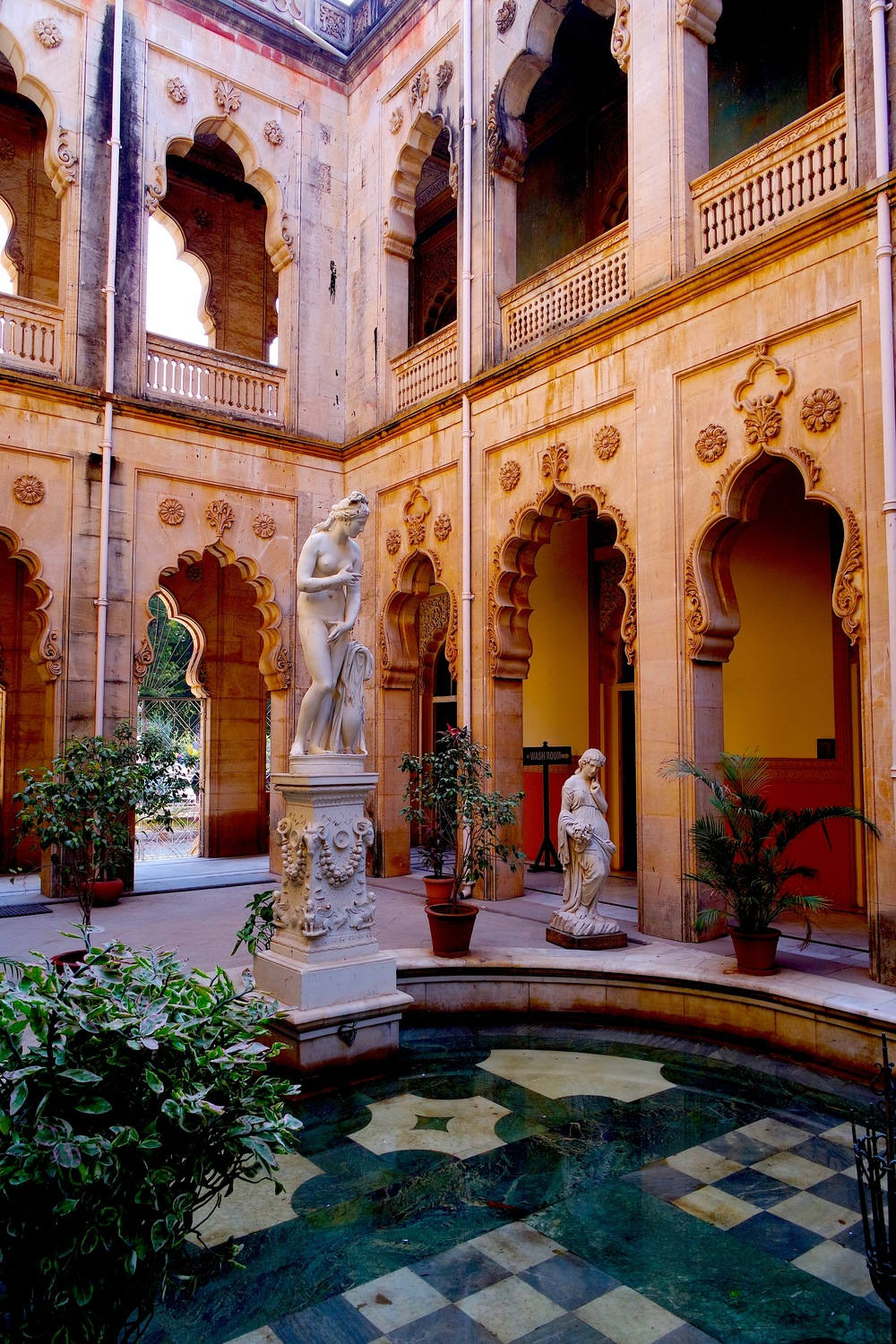 Gorgeous interior courtyard at Laxmi Vilas Palace in Vadodara, India
