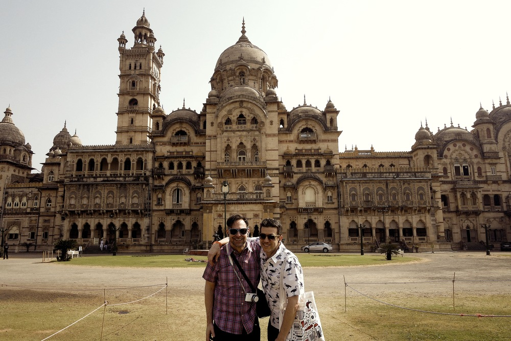 Duke and Wally in front of Laxmi Vilas Palace, a highlight of Vadodara, India