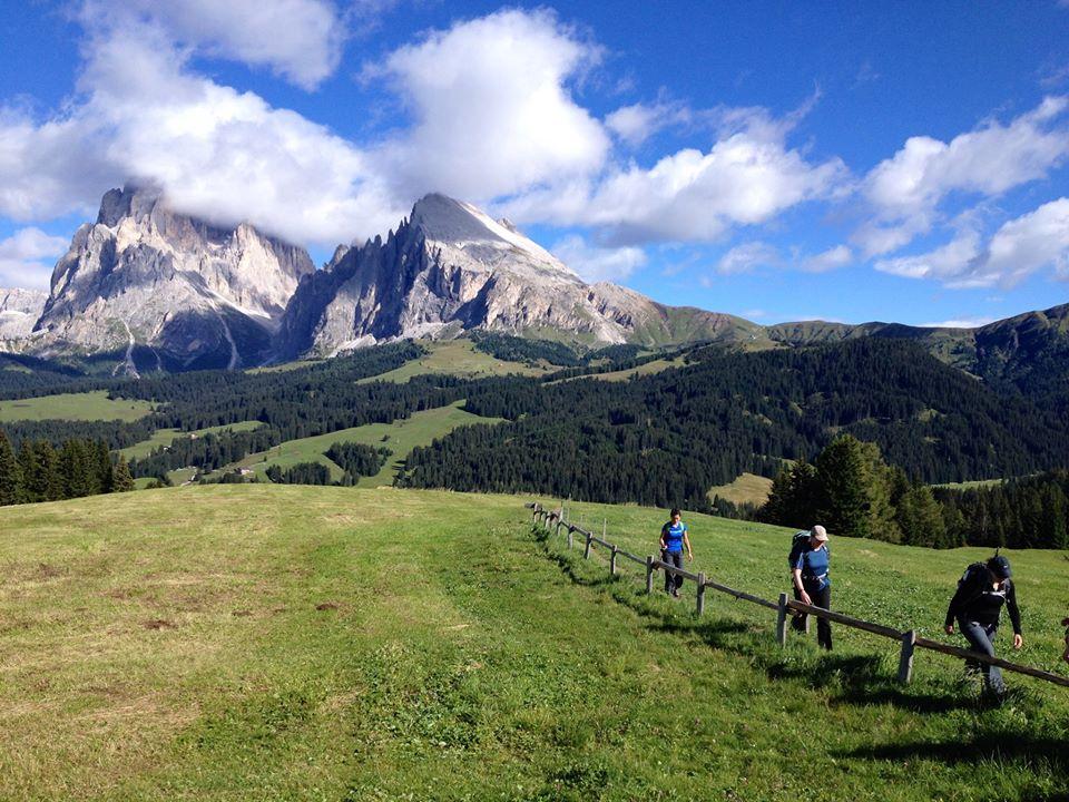 Hiking through the Dolomites mountain range, which straddle Italy and Austria