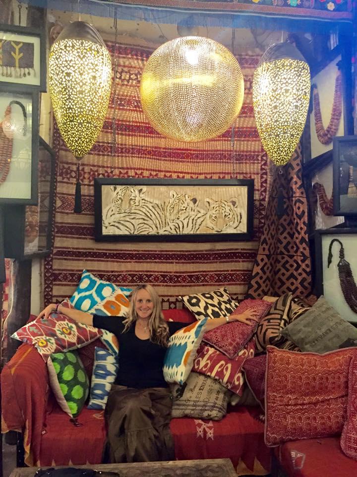 Nancy in her favorite store in Marrakech