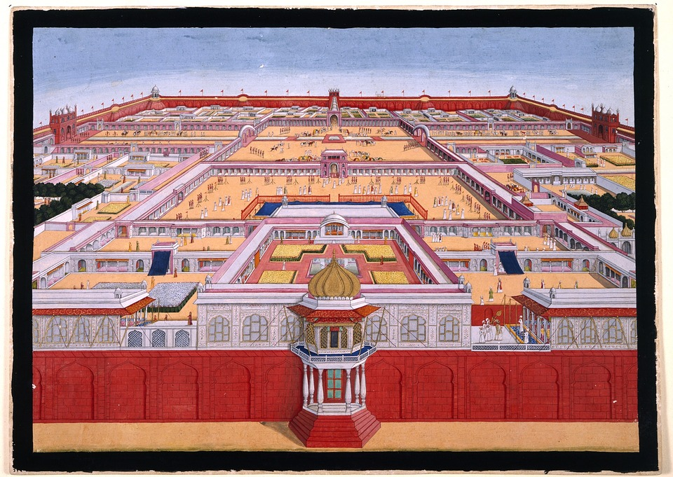 Interior layout of the Red Fort. You can't tell from this depiction, but the fort is actually octagonal