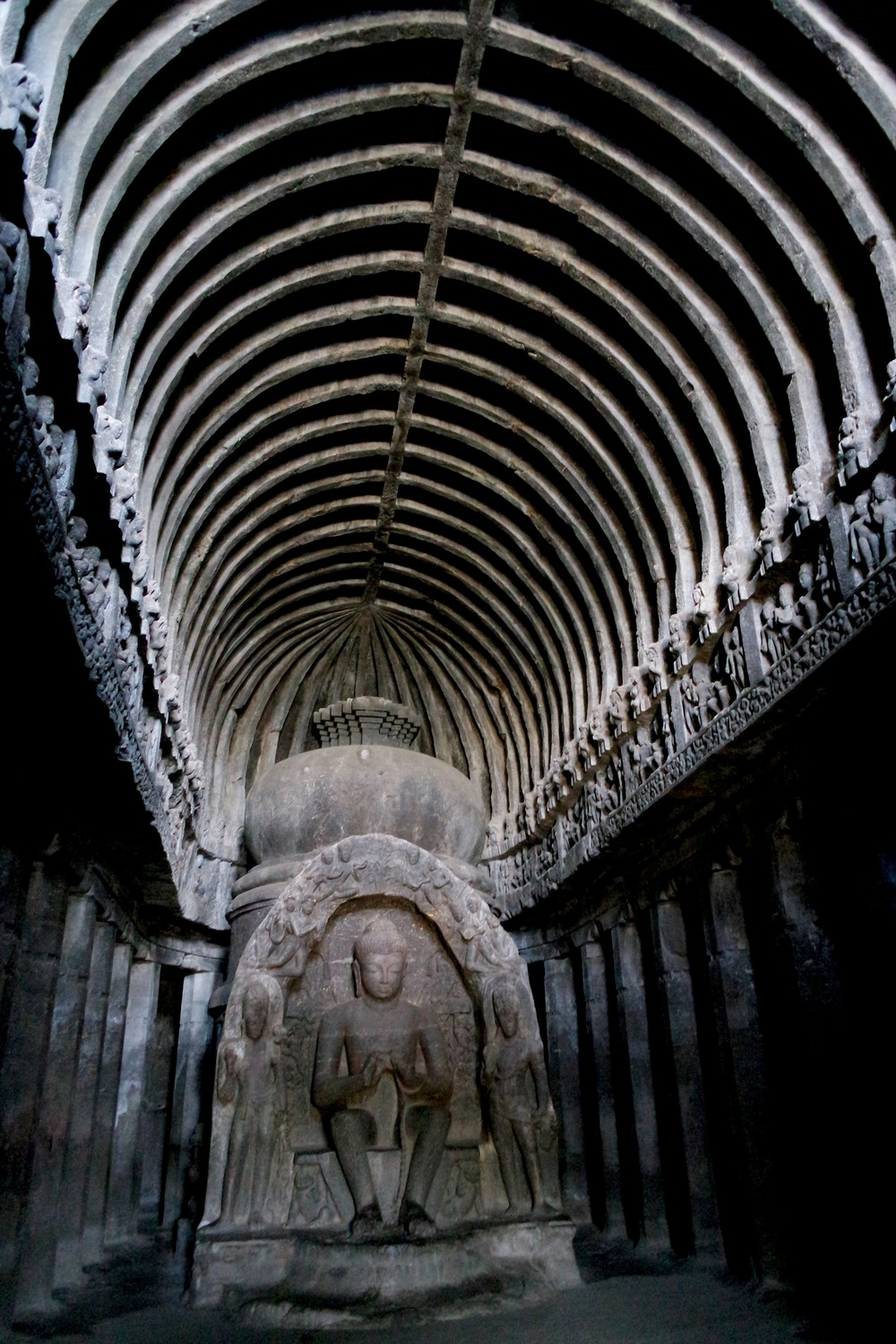 Cave 10, one of the Buddhist caves, is known for its rib-like roof