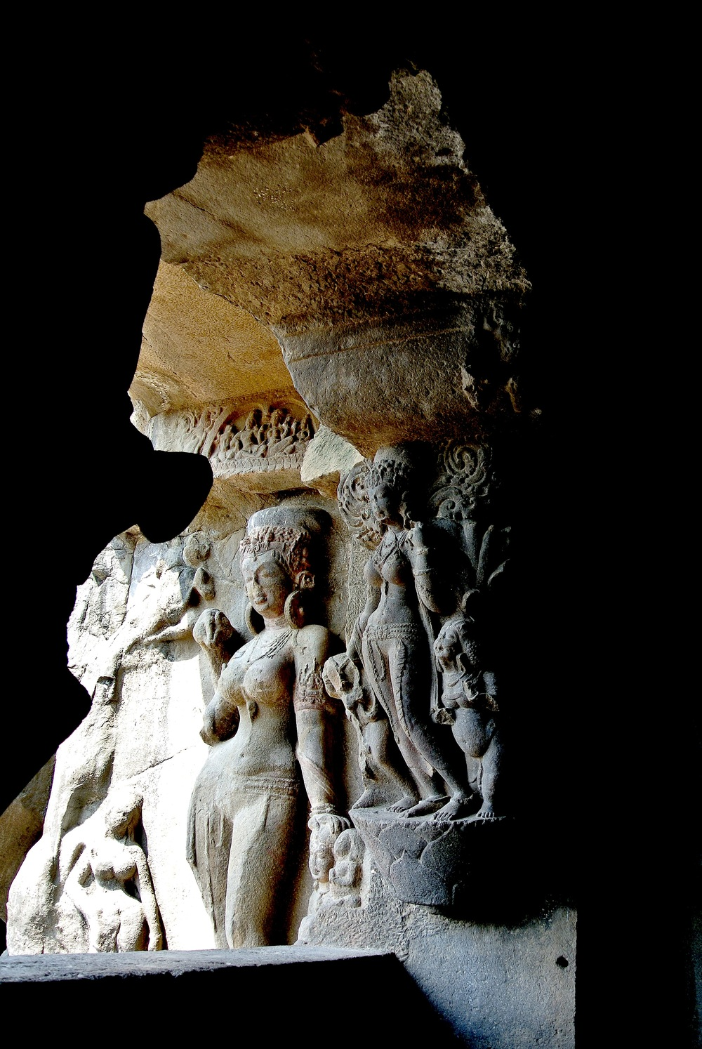 The two river goddesses Ganga and Yamuna are highlights of Cave 21 at Ellora