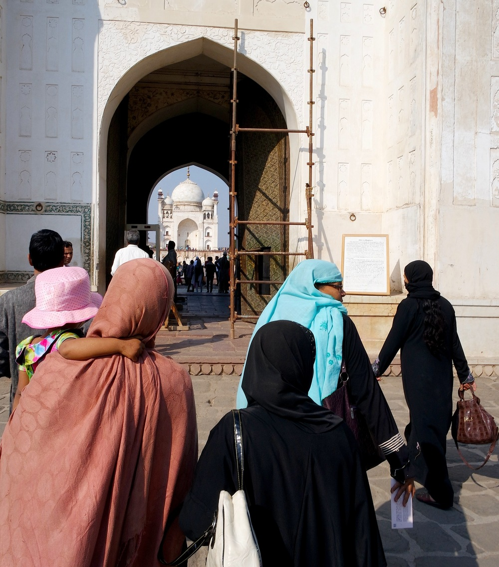 The Bibi ka Maqbara visible through the archway
