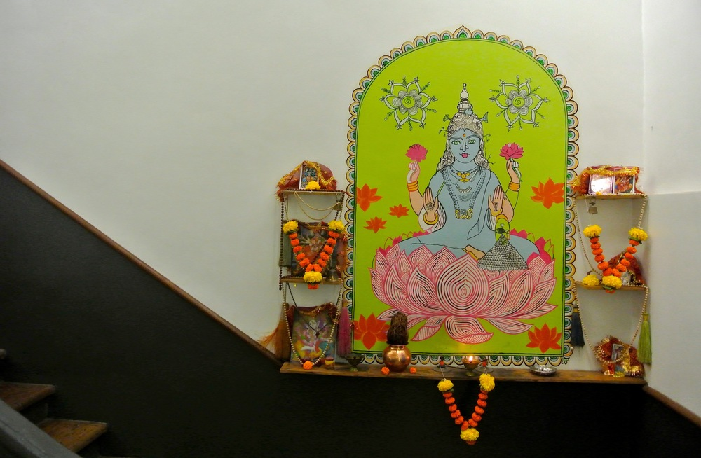 An adorable shrine to Lakshmi, the Hindu goddess of wealth, outside the entrance to the Abode hotel in Mumbai, India