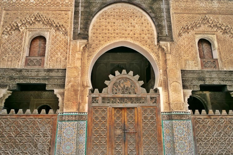 The amazing tile and woodwork at the Bou Inania Medersa in Fès
